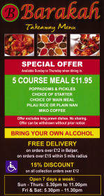 Takeaway menu for Barakah Bangladeshi and Indian restaurant on Bridge Street in Belper, Derbyshire DE56 1AZ