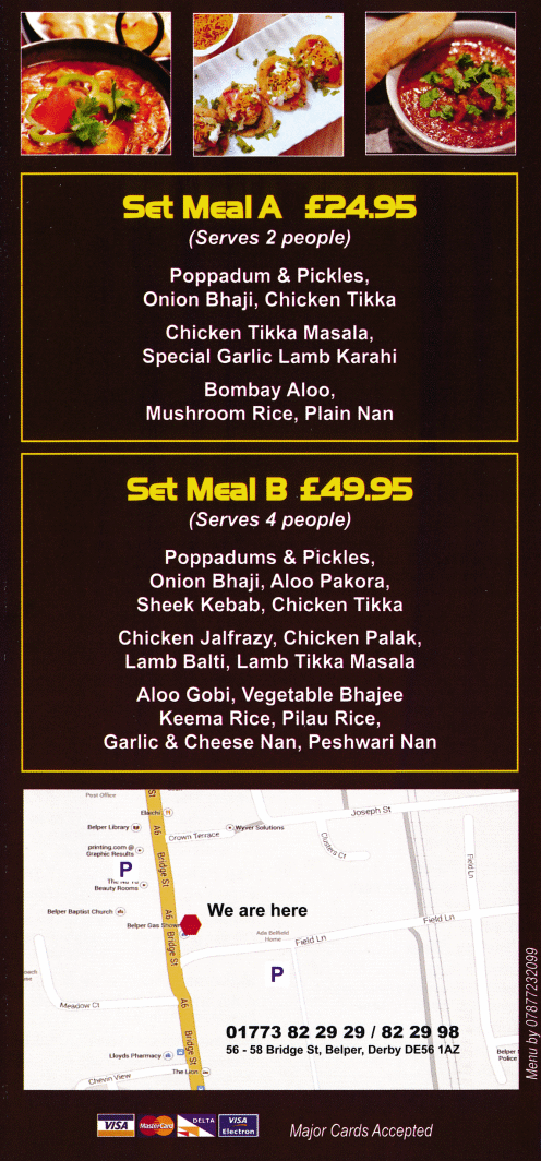 Takeaway and delivery menu for Barakah Indian and Bangladeshi cuisine restaurant in Belper