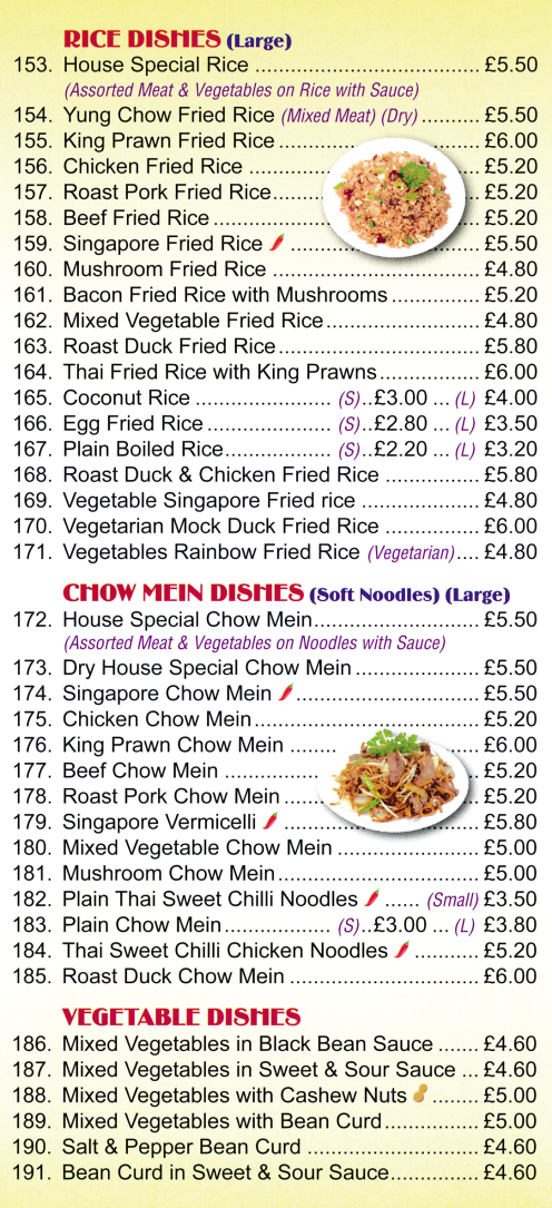 Menu for Bo Bo Oriental Chinese food takeaway and delivery in Stapleford