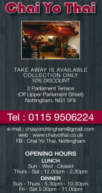 Takeaway menu for Chaiyo Thai on Parliament Terrace in Nottingham NG1 5FX