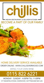 Takeaway menu for Chillis Indian restaurant on Mansfield Road in Sherwood near Nottingham NG5 2JN