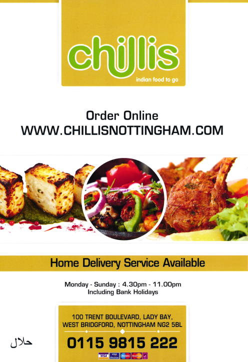 Takeaway and delivery menu for Chillis in Lady Bay, West Bridgford NG2 5BL