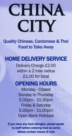Menu for China City Chinese takeaway on Wilford Road in Ruddington NG11 6EN