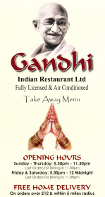 Takeaway menu for Gandhi Indian restaurant on Borough Street in Castle Donington DE74 2LA