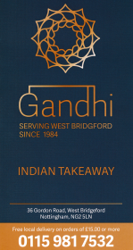 Menu for Gandhi Indian takeaway on Gordon Road in West Bridgford, Nottingham NG2 5LN