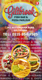 Menu for Giltbrook Fish Bar on Nottingham Road in Giltbrook near Eastwood NG16 2GF