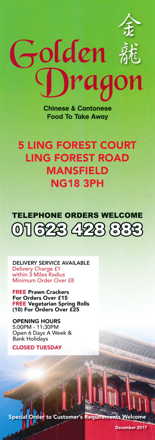 Menu for Golden Dragon Chinese takeaway at Ling Forest Court in Mansfield