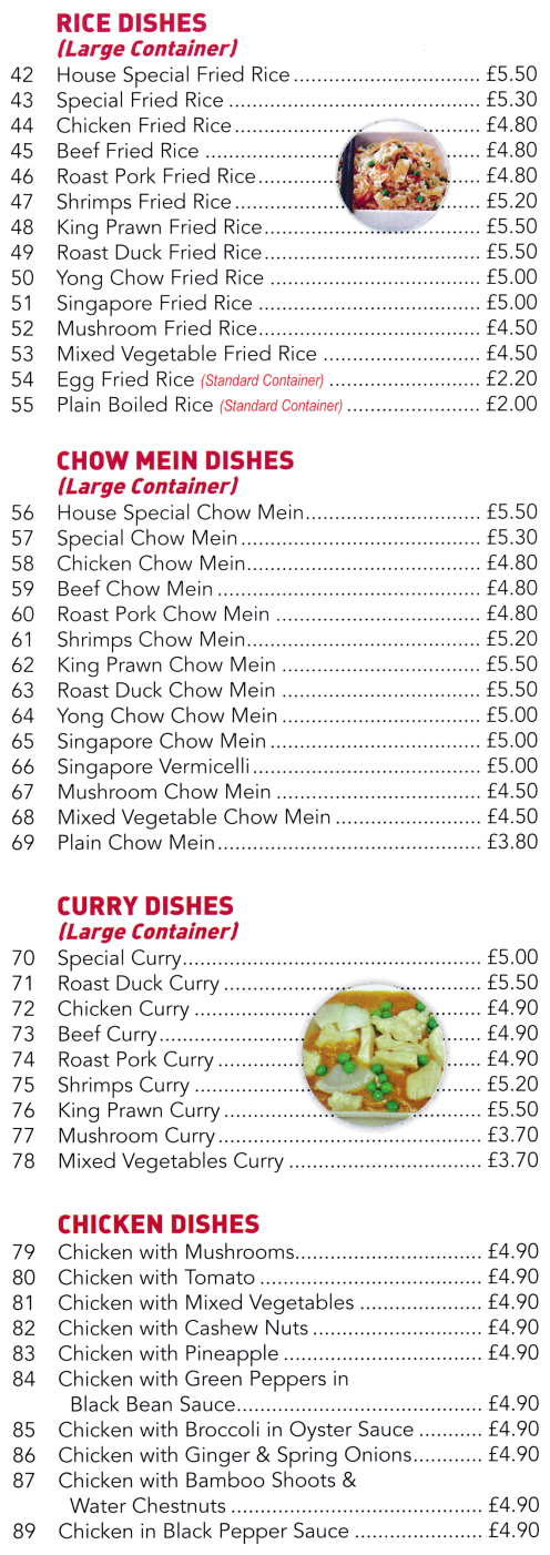 Menu for Golden Dragon (Beef Chow Mein, Singapore Fried Rice, Roast Duck Curry, Deep Fried Chicken in Lemon Sauce..)