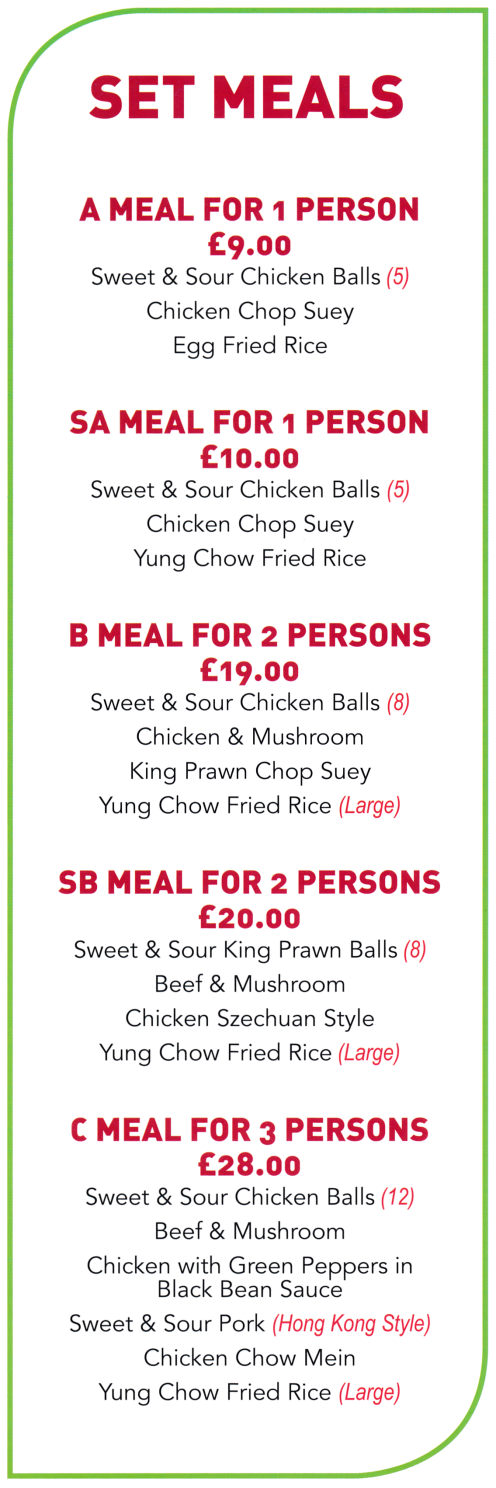 Menu for Golden Dragon Chinese takeaway in Mansfield NG18 3PH