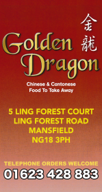 Menu for Golden Dragon Chinese and Cantonese food takeaway on Ling Forest Road in Mansfield NG18 3PH