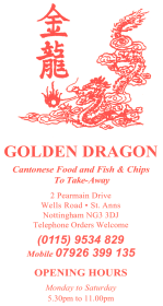 Menu for Golden Dragon Chinese takeaway on Permain Drive in Nottingham NG3 3DJ