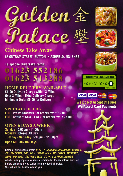 Takeaway and delivery menu for Golden Palace on Outram Street in Sutton-In-Ashfield