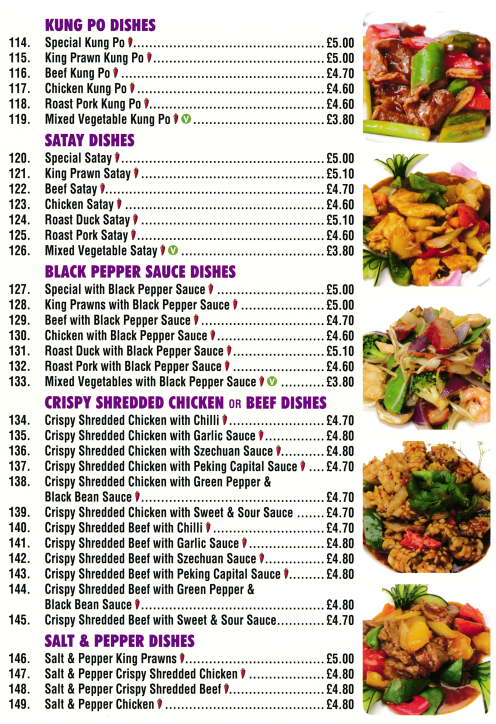 Menu for Golden Palace Chinese takeaway (Satay, Kung Po, Salt & Pepper, Crispy Shredded Beef dishes..)