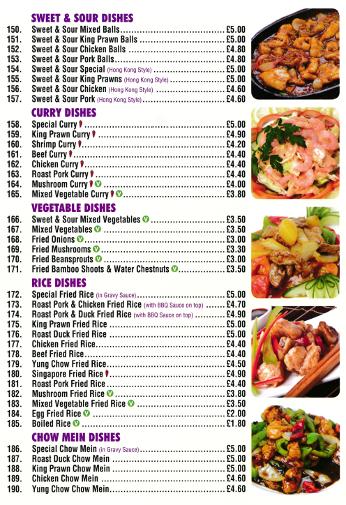 Menu for Golden Palace Chinese takeaway (Sweet & Sour, Chow Mein, Egg Foo Yung..)