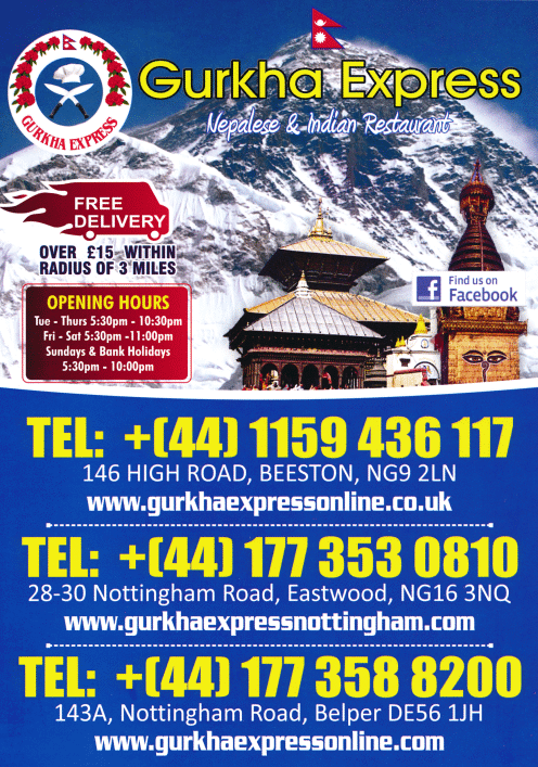 Menu for Gurkha Express Nepalese and Indian restaurant and takeaway in Beeston