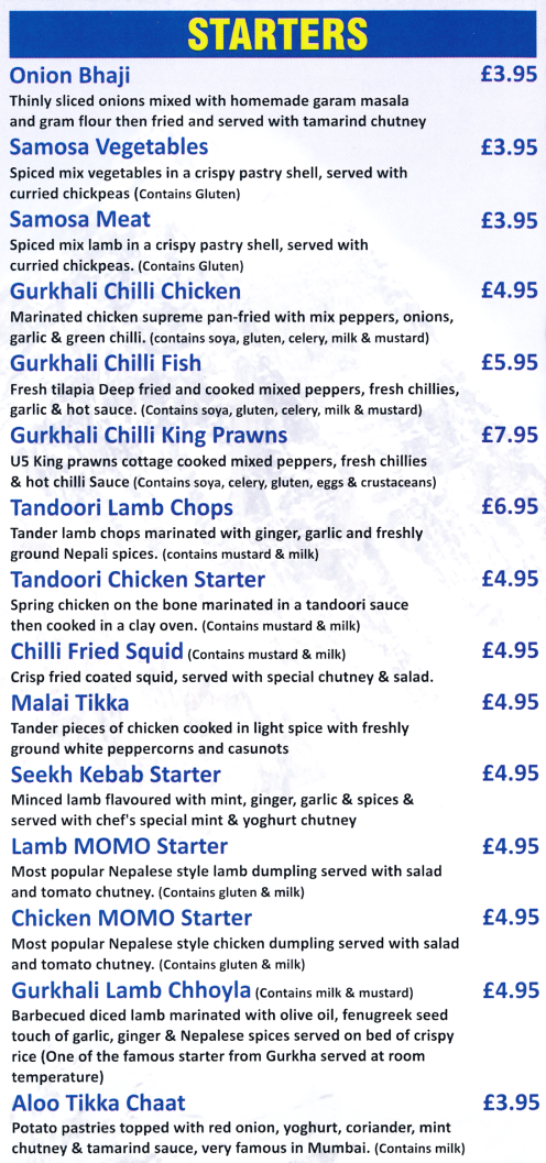 Menu for Gurkha Express Nepalese and Indian restaurant and takeaway in Beeston near Nottingham
