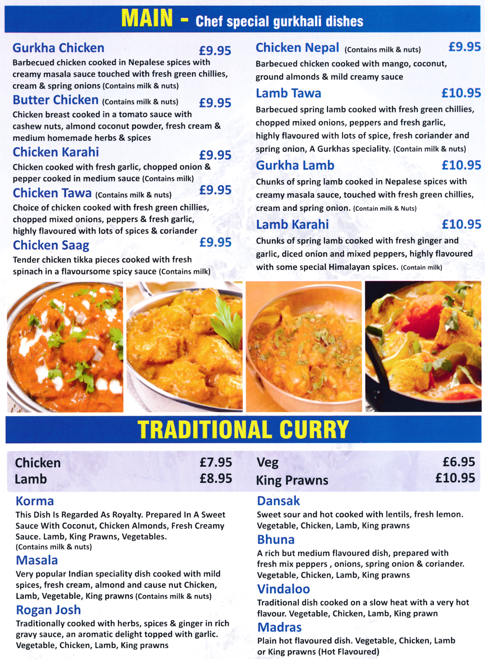 Menu for Gurkha Express Nepalese and Indian cuisine restaurant, takeaway and delivery in Beeston