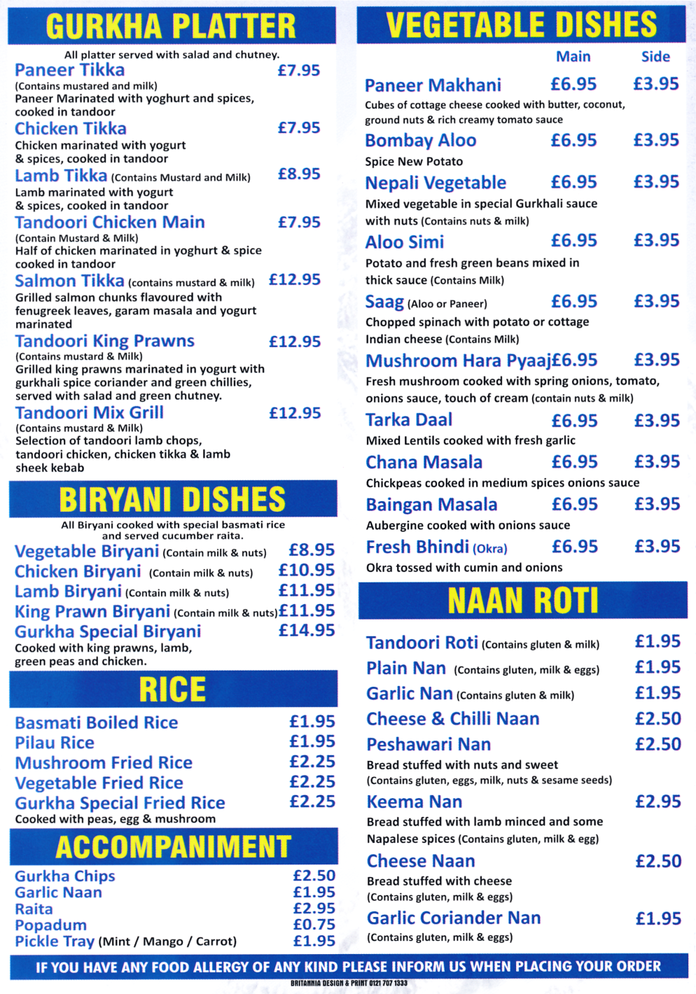 Menu for Gurkha Express (Salmon Tikka, Tarka Daal, Chicken Tikka, King Prawn Biryani, Butter Chicken, Bhuna, Madras..)
