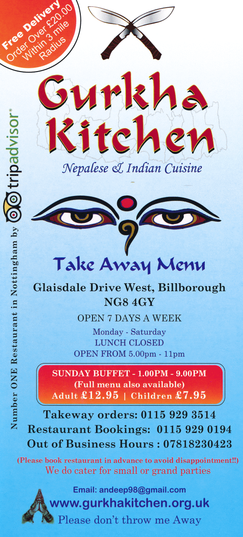 Takeaway and delivery menu for Gurkha Kitchen Nepalese restaurant in Nottingham NG8 4GY