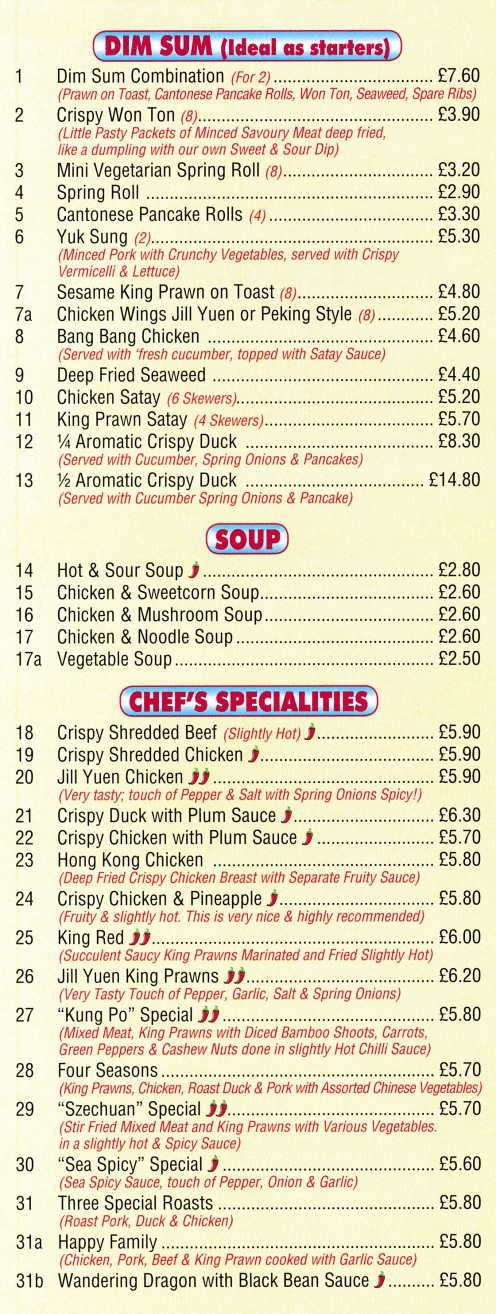 Menu for Happy House Chinese takeaway (Yuk Sung, Crispy Won Ton, Aromatic Crispy Duck, Crispy Shredded Beef, Four Seasons, Hong Kong Chicken..)