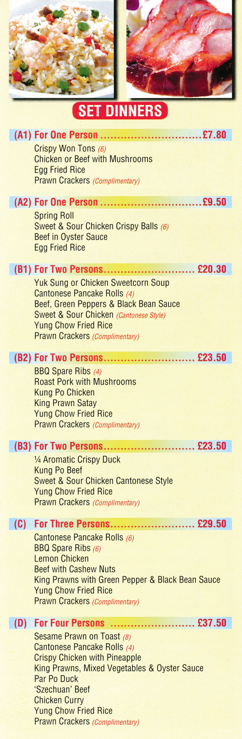 Menu for Happy House Chinese and Cantonese cuisine takeaway in Long Eaton