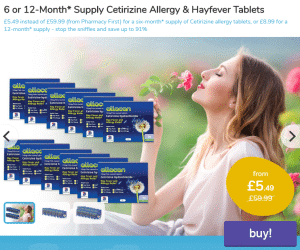 6 or 12 Month supply of Cetirizine Allergy & Hayfever Tablets offer..