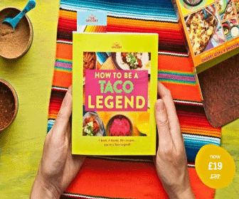 'How to become a Taco Legend' cookbook and spice offer.