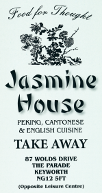 Menu for Jasmine House Chinese takeaway on Wolds Drive in Keyworth NG12 5FT