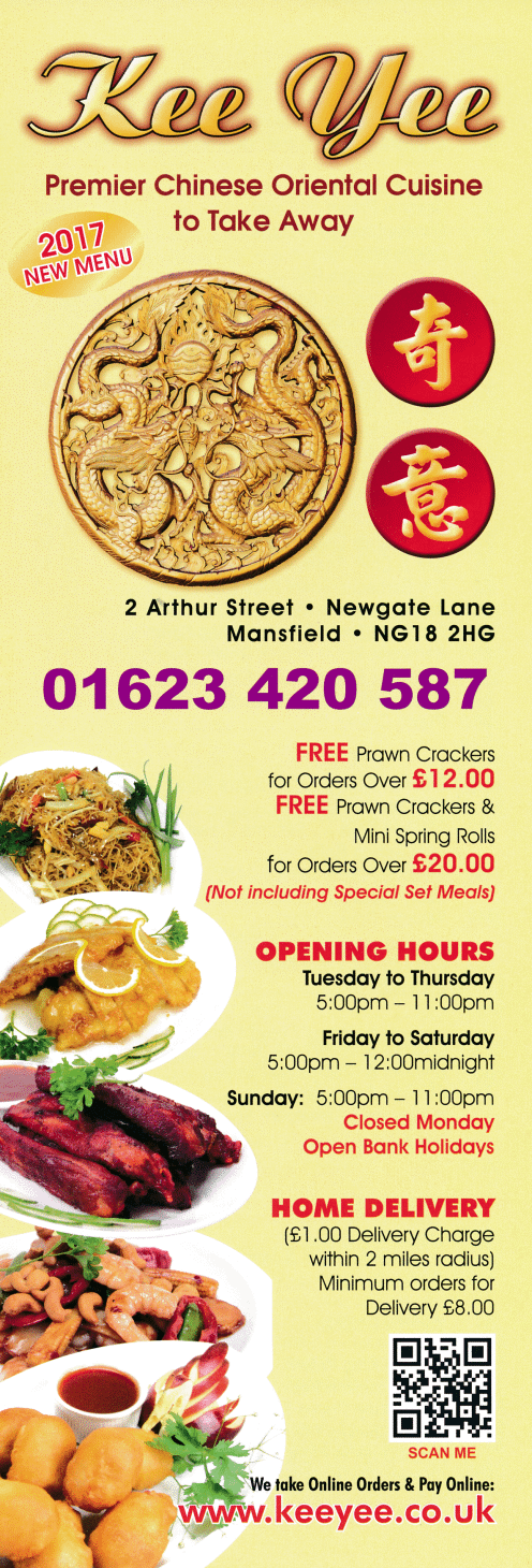 Menu for Kee Yee Chinese takeaway on Arthur Street off Newgate Lane in Mansfield NG18 2HG