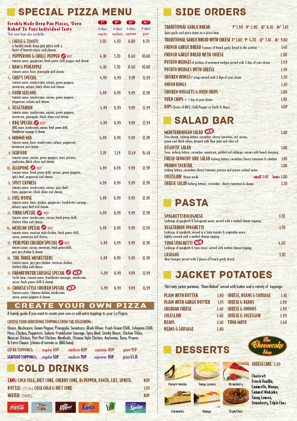 Menu for La Piazza; pizza takeaway and delivery in Carlton, Nottingham