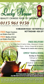 Menu for Lucky House Chinese takeaway on Meadow Road in Netherfield, Nottingham NG4 2FF