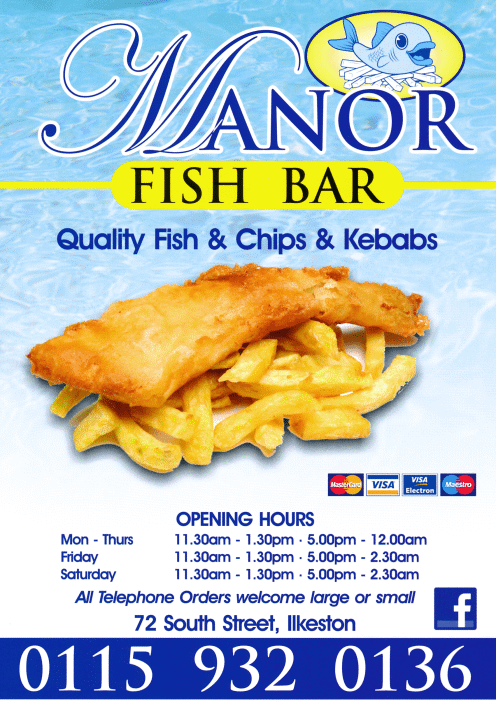 Menu for Manor Fish Bar takeaway and delivery on South Street in Ilkeston DE7 5QJ