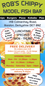Takeaway menu for Rob's Chippy - Model Fish Bar on Cotmanhay Road in Ilkeston DE7 8NZ