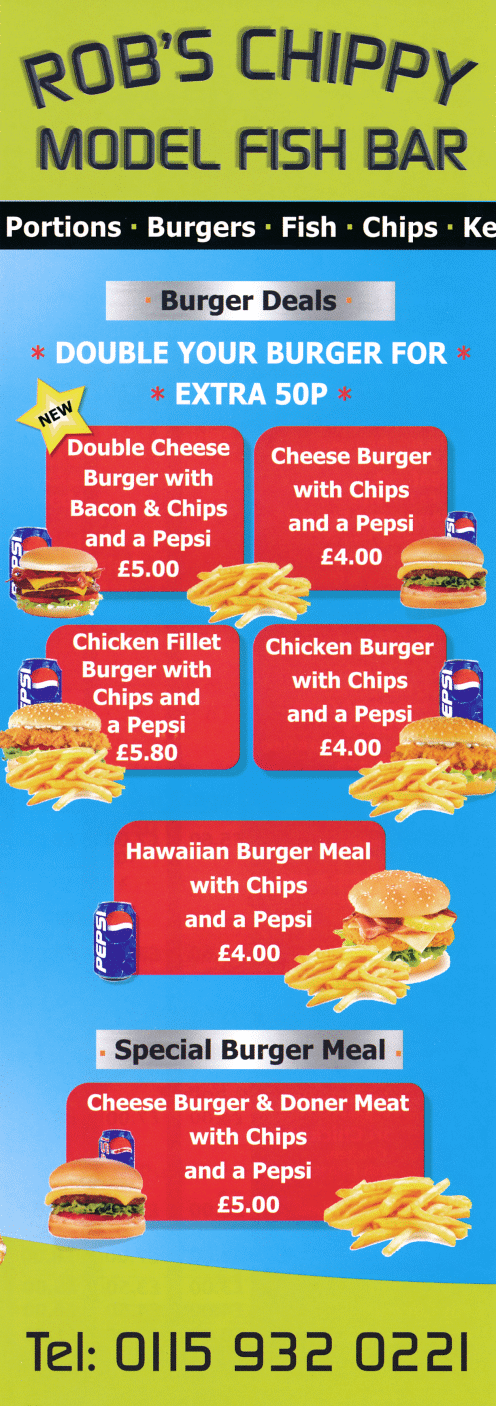 Takeaway and delivery menu for Rob's Chippy Model Fish Bar in Ilkeston DE7 8NZ