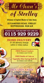 Menu for Mr Chan's Chinese takeaway on Flamsteed Road in Strelley, Nottingham NG8 6LR