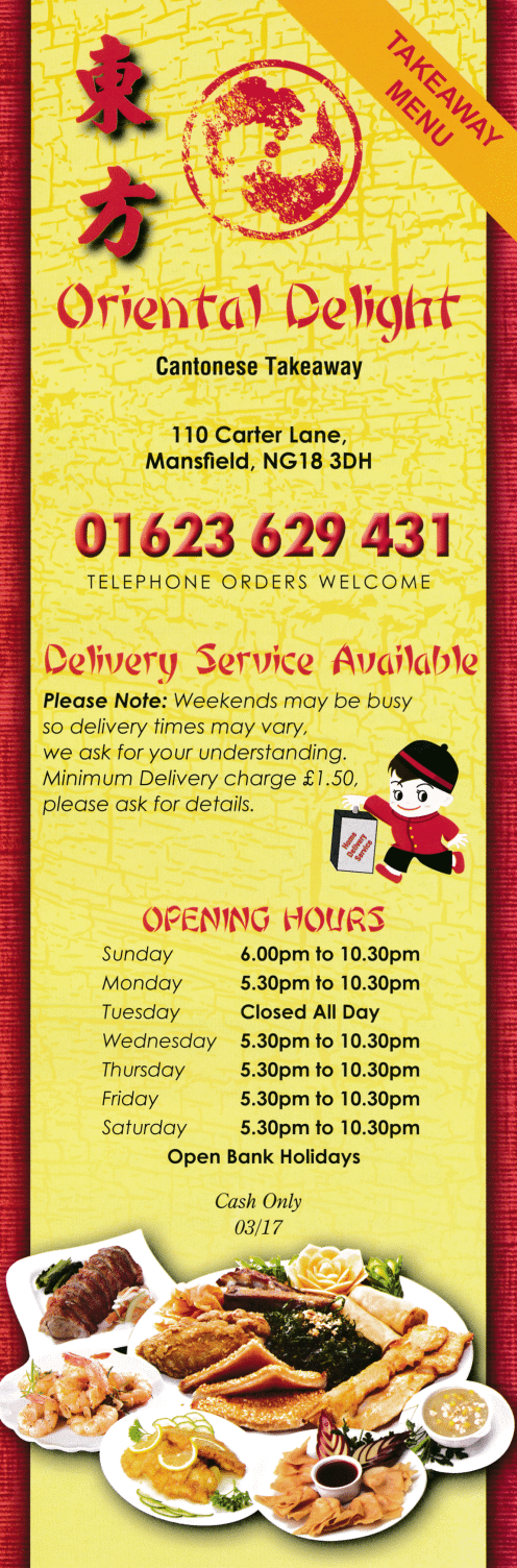 Menu for Oriental Delight Chinese takeaway and delivery in Mansfield