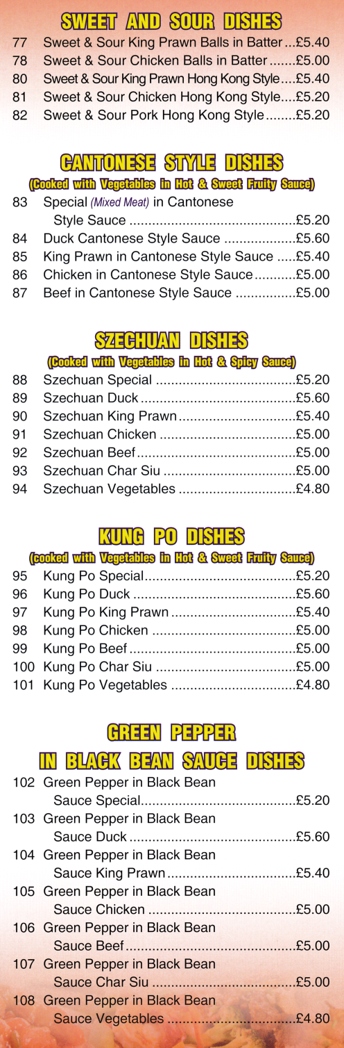 Menu for Oriental Delight Chinese food takeaway (Kung Po, Sweet & Sour, Chow Mein, Szechuan, Cantonese Style dishes..)