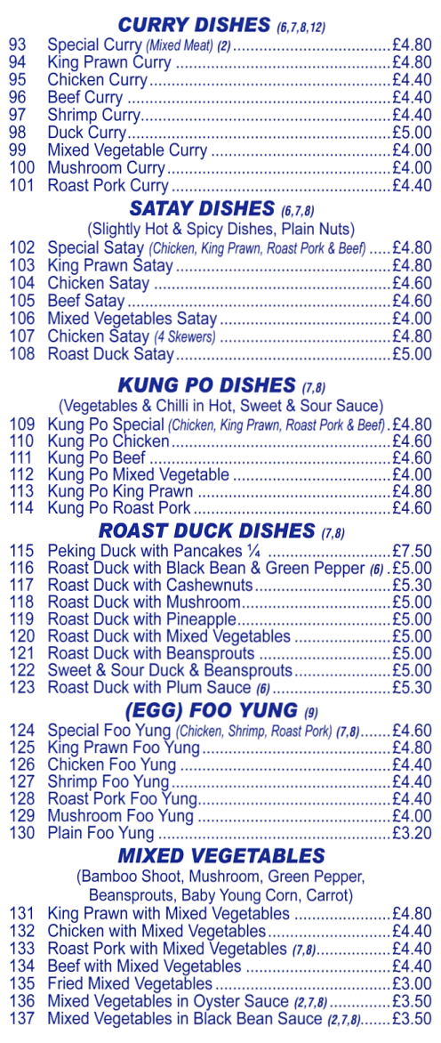 Menu for Phoenix Chinese takeaway (Satay, Curry, Kung Po, Roast Duck, Egg Foo Yung, Vegetable dishes)