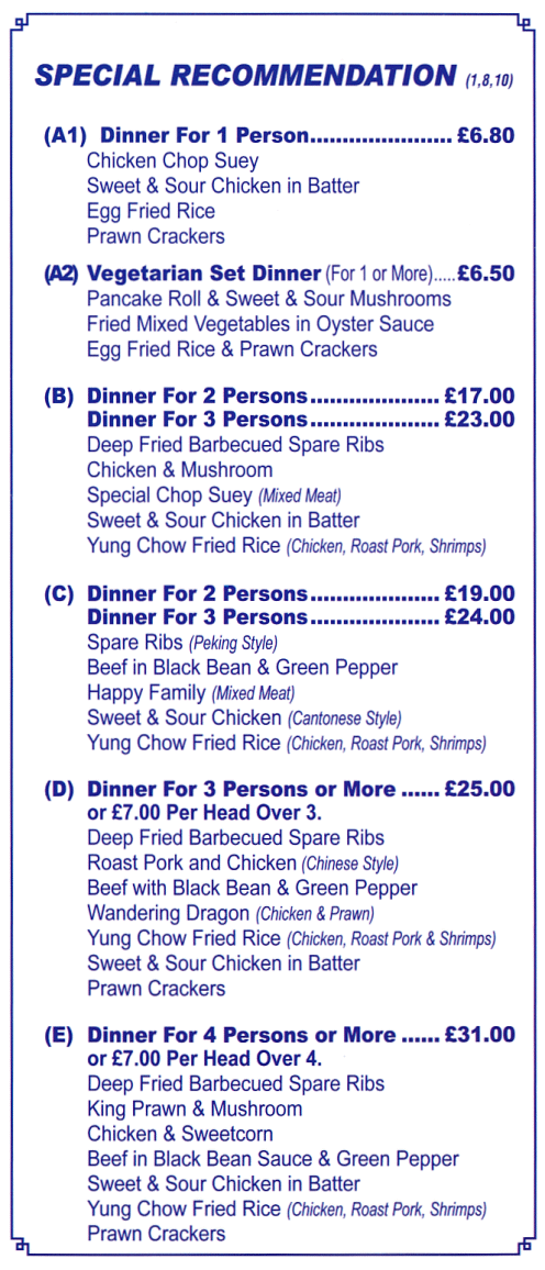 Menu for Phoenix Chinese takeaway on Ash Grove in Long Eaton NG10 3NH