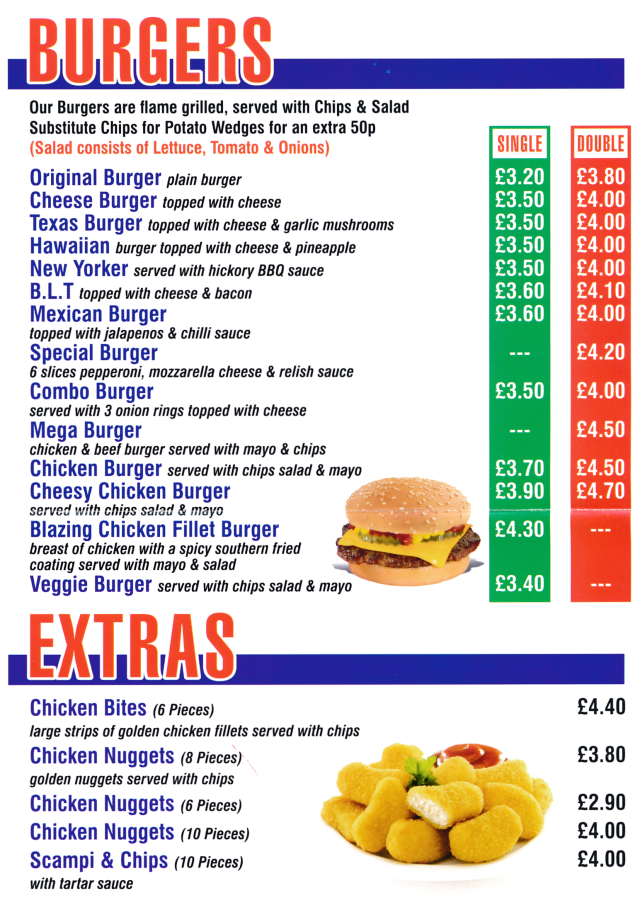 Menu for Pizza Zone takeaway on Queens Road in Beeston NG9 2DB