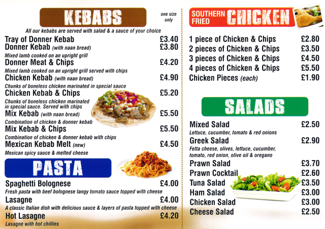 Menu for Pizza Zone (pizzas, kebabs, southern fried chicken, salads, pasta, burgers..)