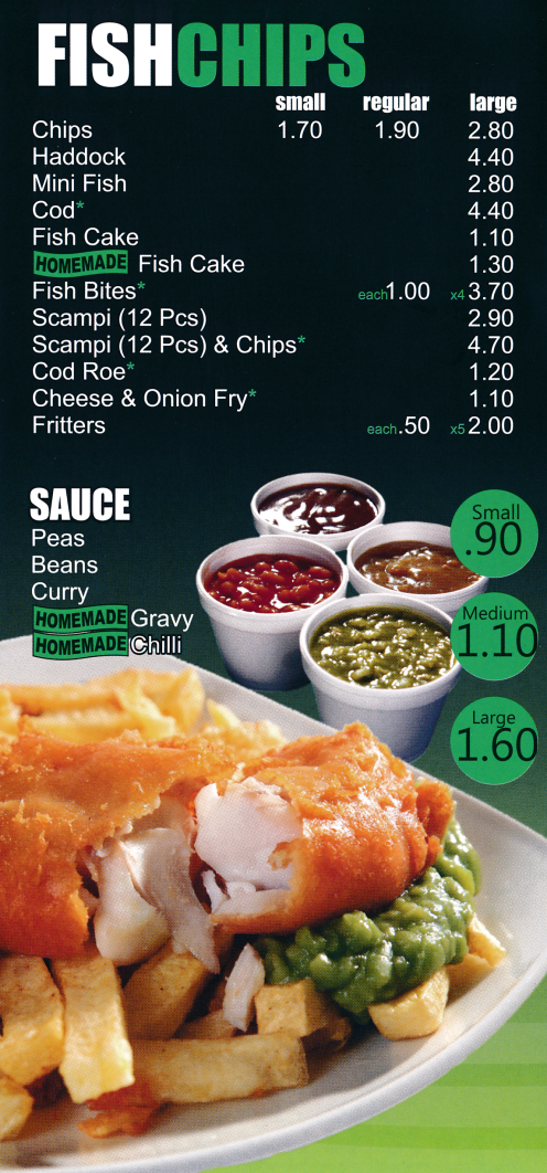 Menu for Priory Fish Bar in Beeston near Nottingham