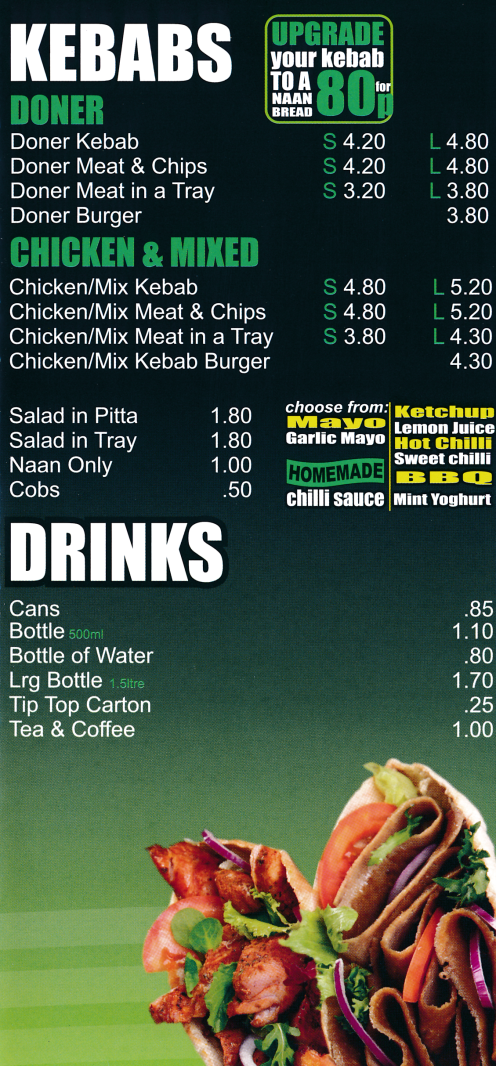 Menu for Priory Fish Bar; fish & chips plus fast food takeaway in Beeston near Wollaton, Nottingham