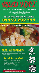 Menu for Red Hat Chinese takeaway on Beechdale Road in Nottingham NG8 3LF