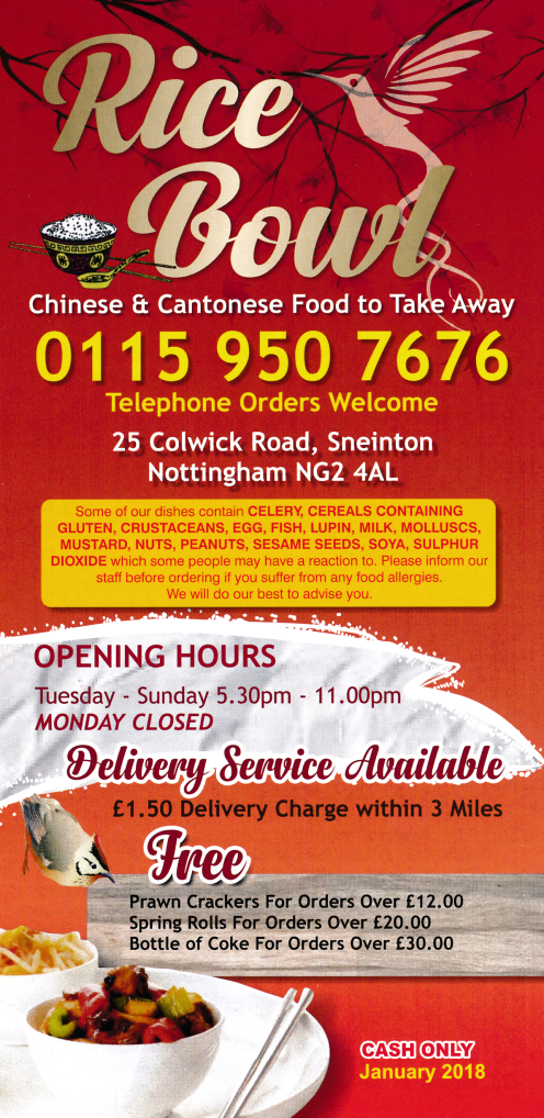 Menu for Rice Bowl Chinese takeaway on Colwick Road in Sneinton, Nottingham NG2 4AL