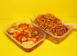Chicken Chow Mein and Szechaun Chicken Chinese dishes.
