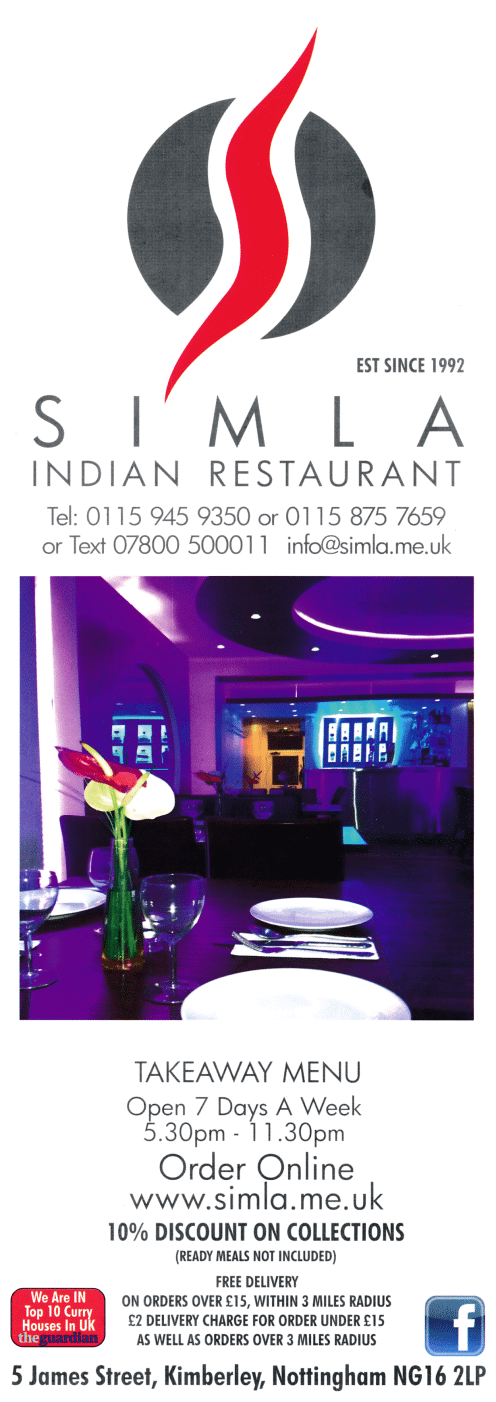 Takeaway and delivery menu for Simla Indian restaurant in Kimberley near Nottingham