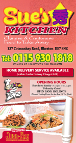 Menu for Sue's Kitchen Chinese takeaway on Cotmanhay Road in Ilkeston DE7 8NZ