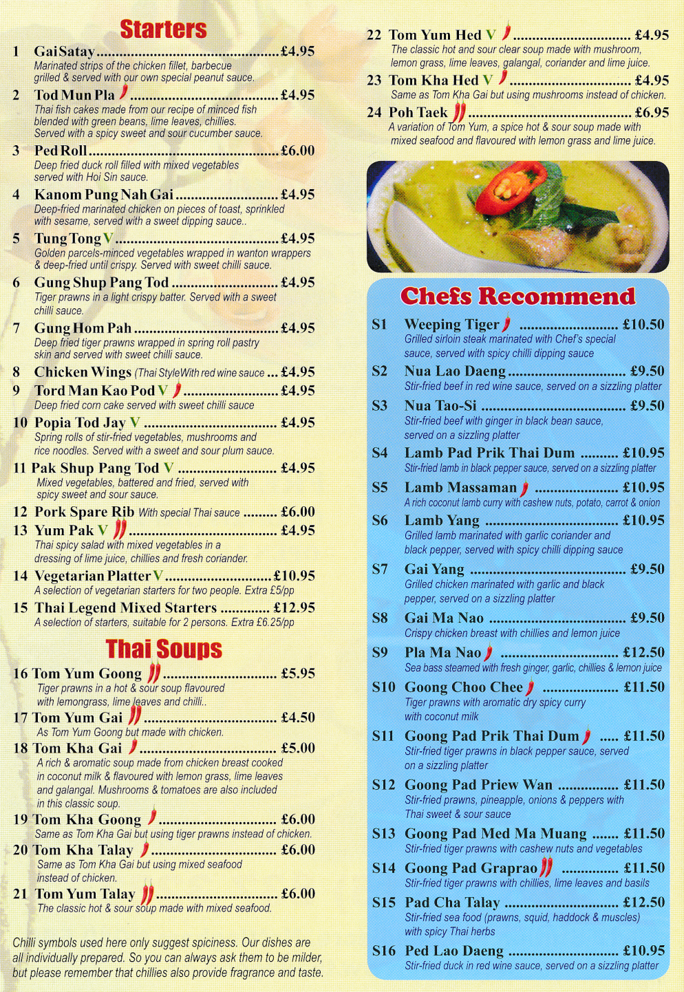 Takeaway menu for Thai Legend (Thai curries, salads, seafood dishes, set menus, Chef's recommended dishes..)