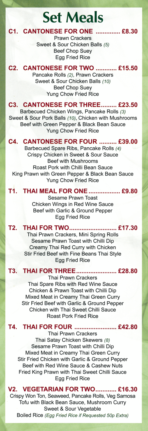 Menu for Top Chef Chinese takeaway in Sneinton, Nottingham
